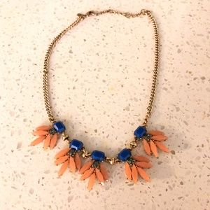 J. crew Navy and Coral statement necklace